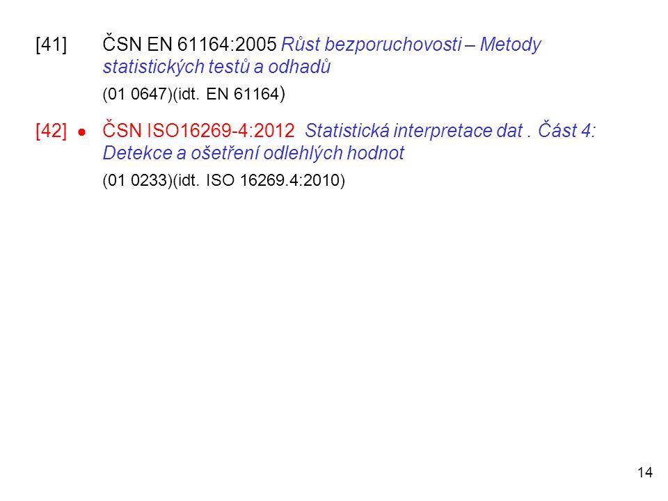 [41]. ČSN EN 61164:2005 Růst bezporuchovosti – Metody